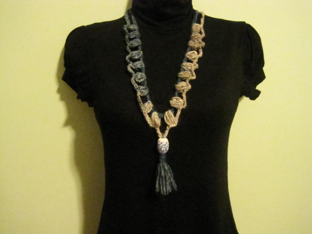 Necklace, Neck warmer, crocheted - mosaic (NL1,2,3,4)) $16/each