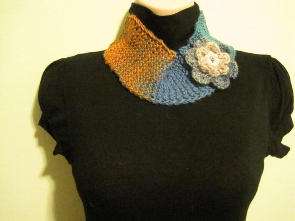 Neck warmer, Headband, Knitted and crocheted - mosaic (NW2/HB1)