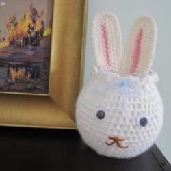 Crochet Bunny Cozy for Glass Bowl and More - white (X1)