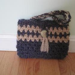 Crocheted purse/handbag - small - tweed/purple/rococo (P16)