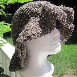 Crochet Summer Hat - mixture of purple/olive (H12)