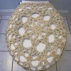 Crochet Toilet Seat Cover, Toilet Seat Cozy - Pearls (TSC4)