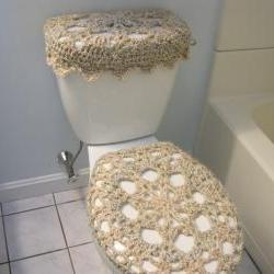 Set of 2 Crochet Covers for Toilet Seat & Toilet Tank Lid, Cozies - Pearls (TSTTL2)