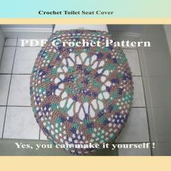 Crochet Pattern - Toilet Seat Cover for Both Standard and Elongated Toilet Seats (4VC2012)