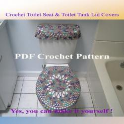 Set of 2 Crochet Patterns - Toilet Seat Cover (4VC2012) & Toilet Tank Lid Cover (5VC2012)